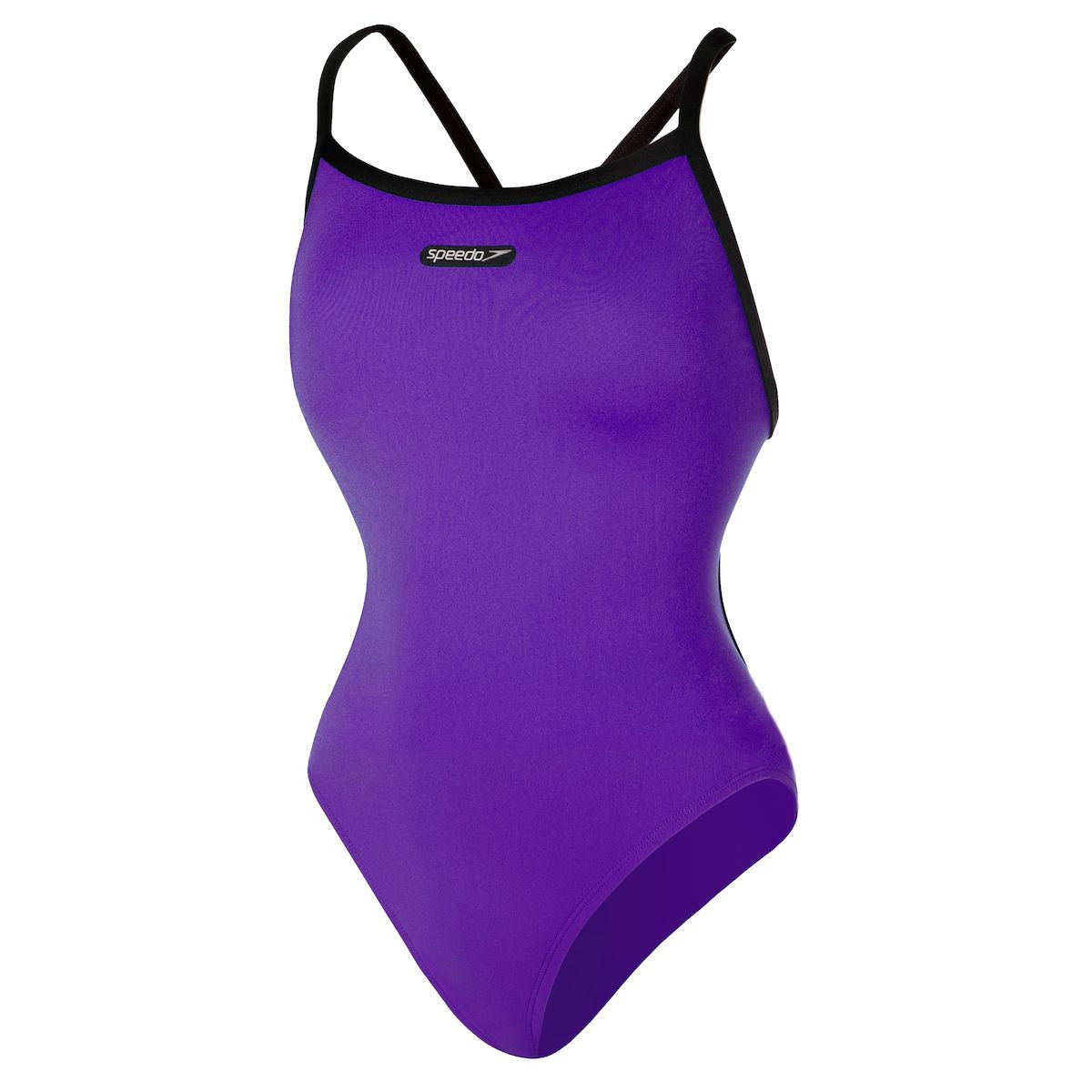 Speedo Women's Solid Flyback with Logo Patch Swimsuit - FINAL SALE