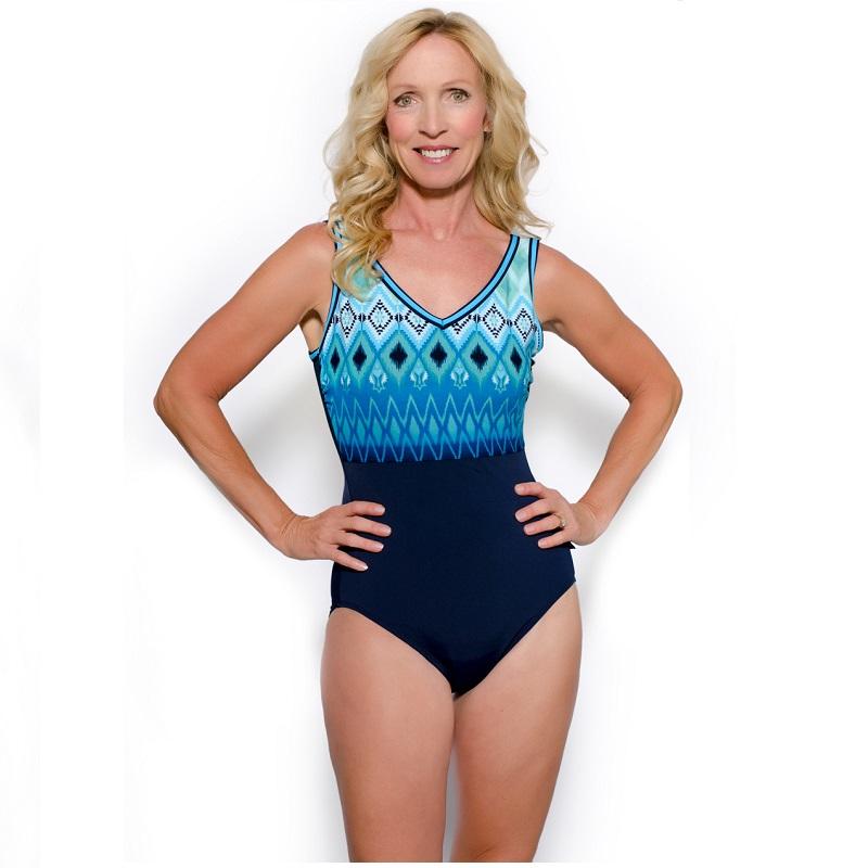 TYR Women's Baltic Stripe V-Neck V-Back One Piece Swimsuit