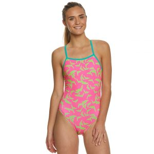 Speedo Women's Turnz One Back Pink/Green One Piece Swimsuit