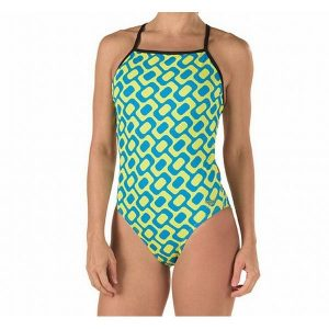 Speedo Women's Blue/Yellow Round Diamond One Piece Swimsuit