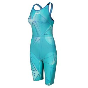Arena Women's Powerskin R-Evo Blue Glass Limited Edition Open Back Kneeskin