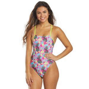 Speedo Women's Pink/Turquoise Print Fixed Back One Piece Swimsuit