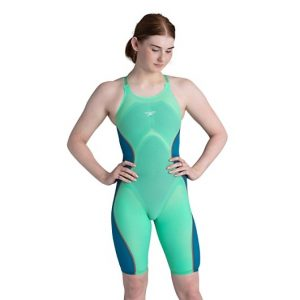 Speedo Women's Fastskin Pure Intent Green Glow Open Back Kneeskin