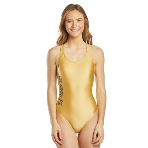 Speedo Women's Gold Thin Strap One Piece Swimsuit