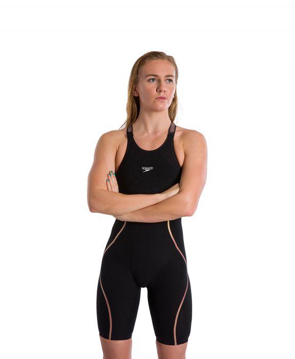 Speedo Women's Fastskin Pure Intent Black/Rose Gold Closed Back Kneeskin