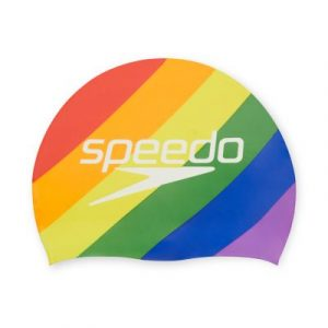Speedo Rainbow Stripes Pride Silicone Swim Cap