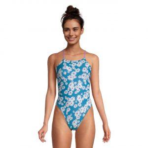 Speedo Women's Blue Jewel Clean Double Strap One Piece Swimsuit