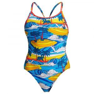 Funkita Women's Beach Bum Eco Diamond Back One Piece Swimsuit