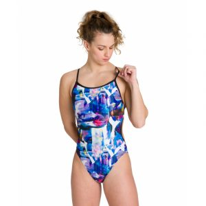 Arena Women's Painterly Lace Back One Piece Swimsuit