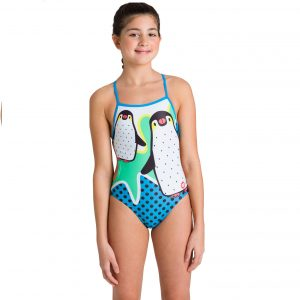 Arena Girl's Crazy Penguins Jr Lightech One Piece Swimsuit
