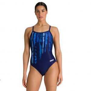 Arena Women's Team Painted Stripes Lightech Back One Piece Swimsuit