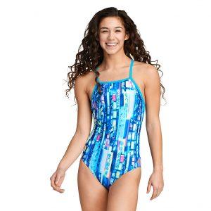 Speedo Women's Blue/Pink Double X Back One Piece Swimsuit