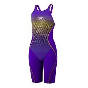Speedo Women's Fastskin Pure Intent Violet/Fluo Yellow Printed Open Back Kneeskin