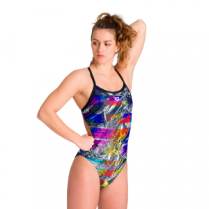 Arena Women's Iridiscent Stripe Challenge Back One Piece Swimsuit