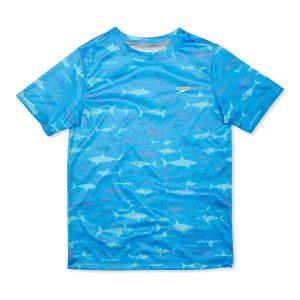 Speedo Boy's Short Sleeve Printed Shark Swim Shirt