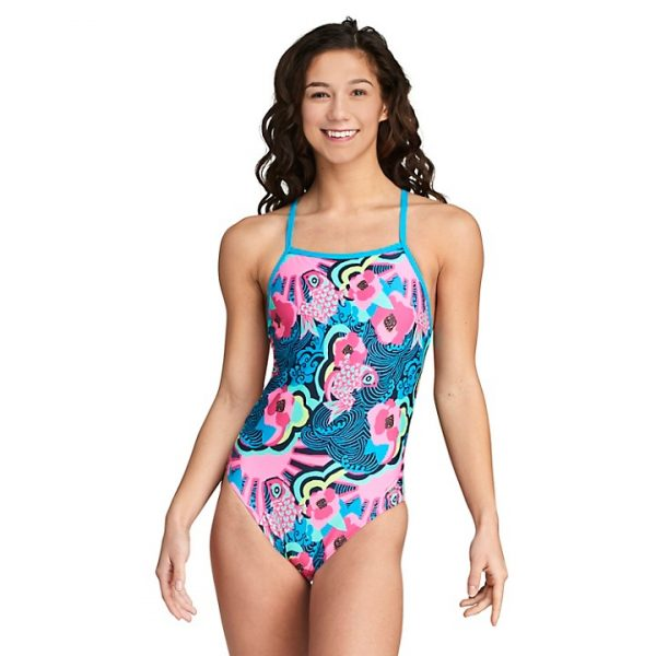 Speedo Women's The One Blue/Pink Printed One Piece Swimsuit
