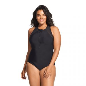 Speedo Women's Zip Front Mesh Plus Size One Piece Swimsuit
