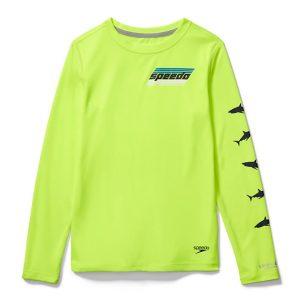 Speedo Boy's Long Sleeve Neon Graphic Swim Shirt