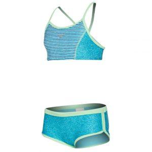 Speedo Girl's Print Blocked Two Piece Swimsuit