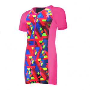 TYR Kid's Pink/Rainbow Triangle Short Sleeve Cover Sun Suit