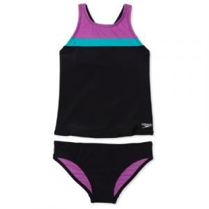 Speedo Girl's Horizontal Splice Two Piece Tankini Swimsuit