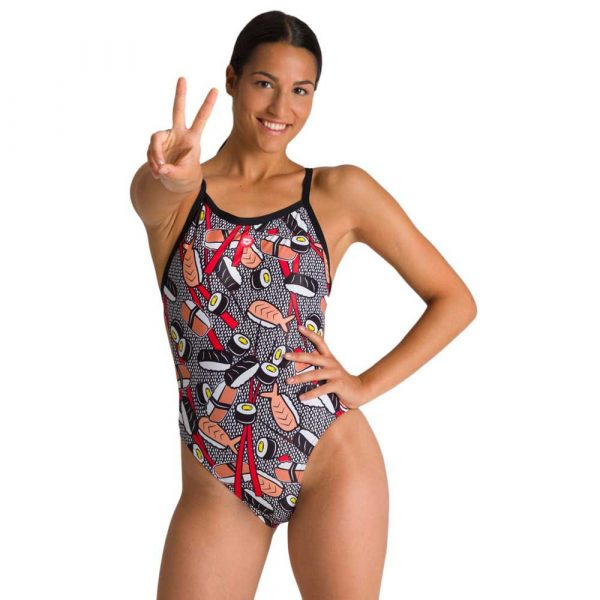 Arena Women's Crazy Sushi X Criss Cross Back One Piece Swimsuit