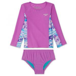 Speedo Girl's Long Sleeve Rashguard Two Piece Swimsuit