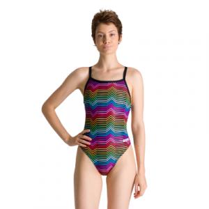 Arena Women's Multicolour Stripes Challenge Back One Piece Swimsuit