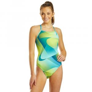 Nike Women's Spectrum Lace Up Tie Back One Piece Swimsuit