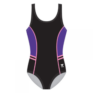 TYR Women's Solid Aqua Tank Panels and Piping One Piece Swimsuit