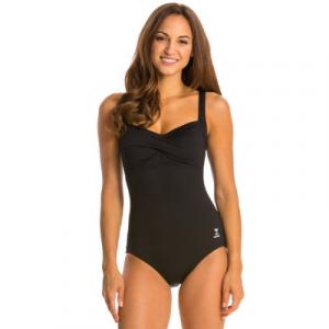 TYR Women's Solid Twist Bra With Adjustable Straps One Piece Swimsuit